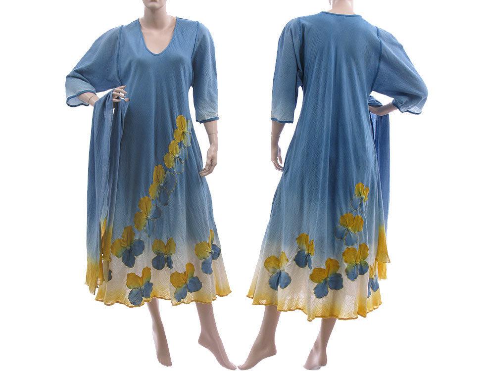 Handmade Blumen Kleid Schal in blau gelb 42-46 - CLASSYDRESS
