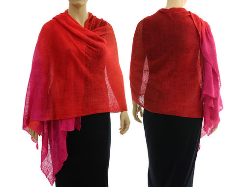 Lagenlook Leinen Strick Schal Cape in rot pink 36-50