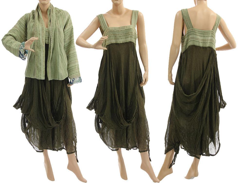 leinen kombi kleid mit jacke lind olive 40 42 classydress. Black Bedroom Furniture Sets. Home Design Ideas