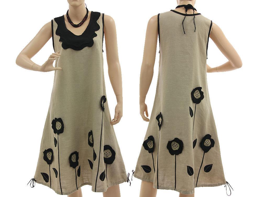 lagenlook leinen kleid sonnenblumen natur 36 40 classydress. Black Bedroom Furniture Sets. Home Design Ideas