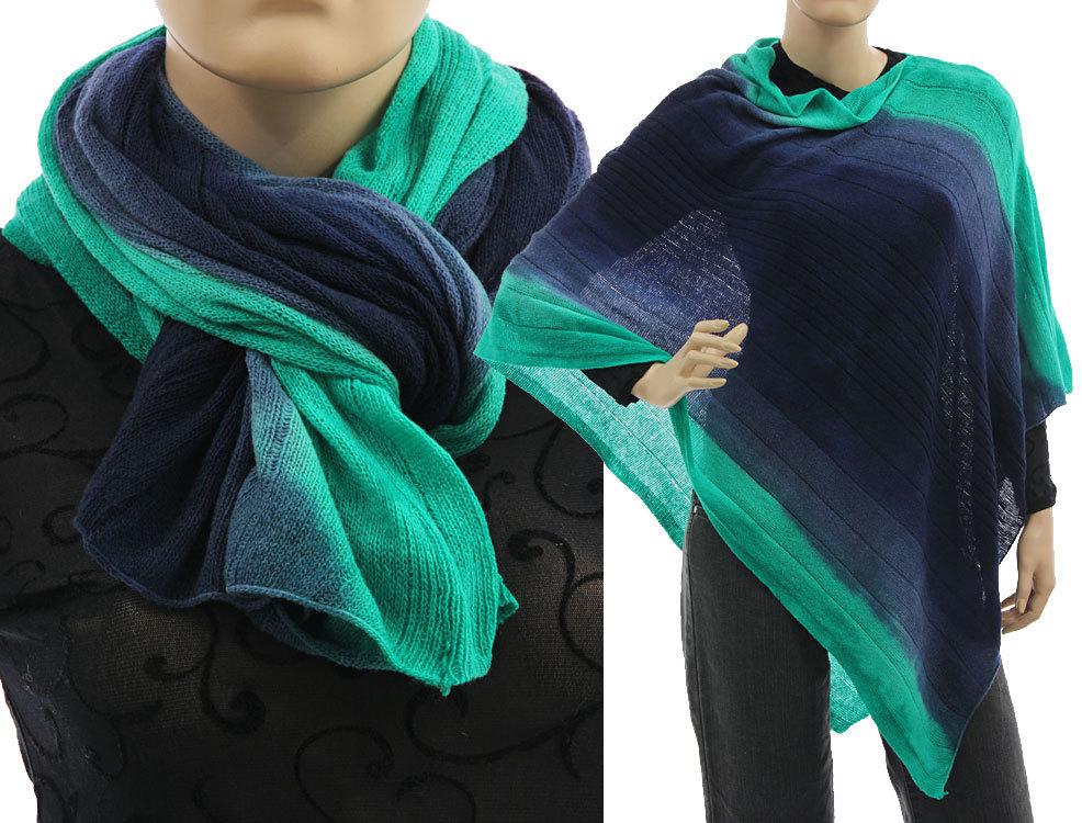 eine große Auswahl an Modellen farblich passend schnell verkaufend Kuschel Strick Poncho Schal Überwurf, Wolle in dunkelblau türkis 36-50