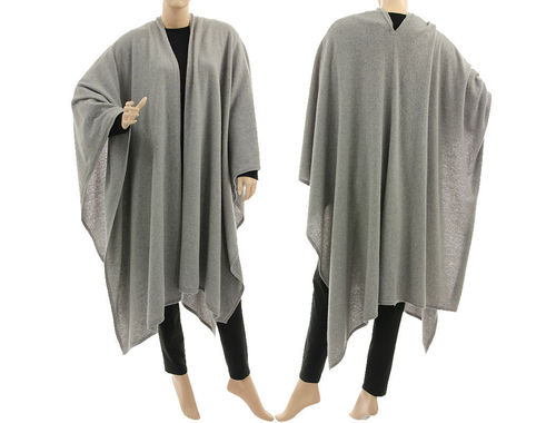 Lagenlook Poncho-Schal Cape lang, Wolle hellgrau 38-56