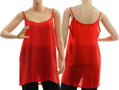 Seidentop, Slip Top, Spaghetti Top, Unterhemd, Sommer Top, Seide in rot 46-48