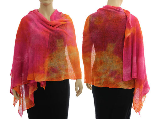 Lagenlook Leinen Strick Schal Cape pink orange 36-50