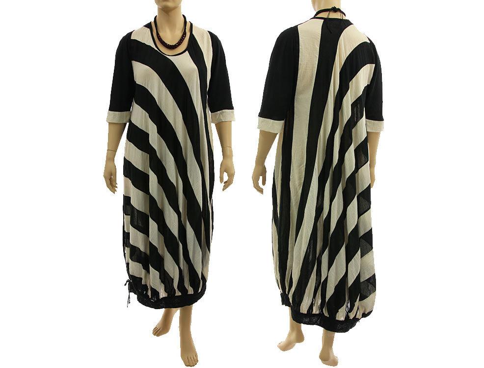 Lagenlook Kleid diagonale Streifen schwarz ecru 48-54 ...