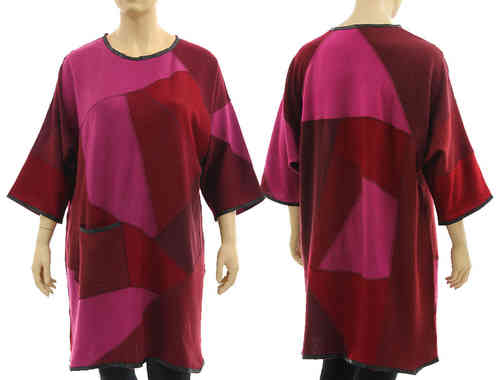 Lagenlook Strick Kleid Tunika, weiche Wolle in pink weinrot 46-50/52