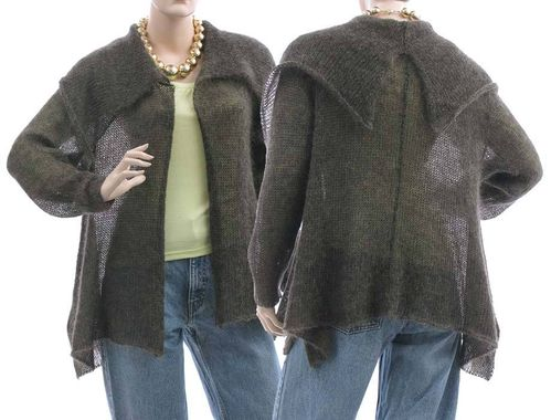 Lagenlook leichte Strickjacke Malika, Kid Mohair in gold-grau S-M
