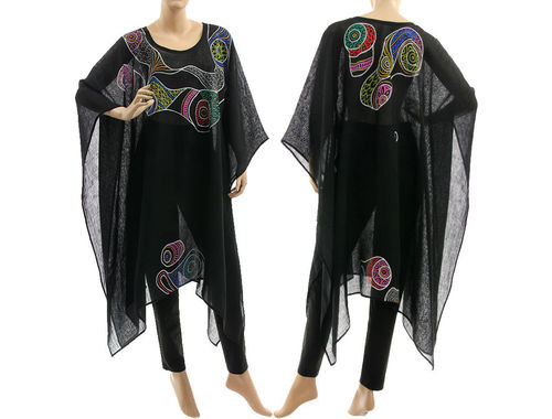 Boho Sommer Party Poncho Leinen Gaze handbemalt, in schwarz 36-52