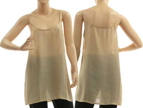 Seidentop, Slip Top, Spaghetti Top, Unterhemd, Sommer Top, Seide in beige 40-42