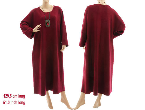 Puristisches langes Herbst Winter Kleid Merinowolle in burgund 46-52