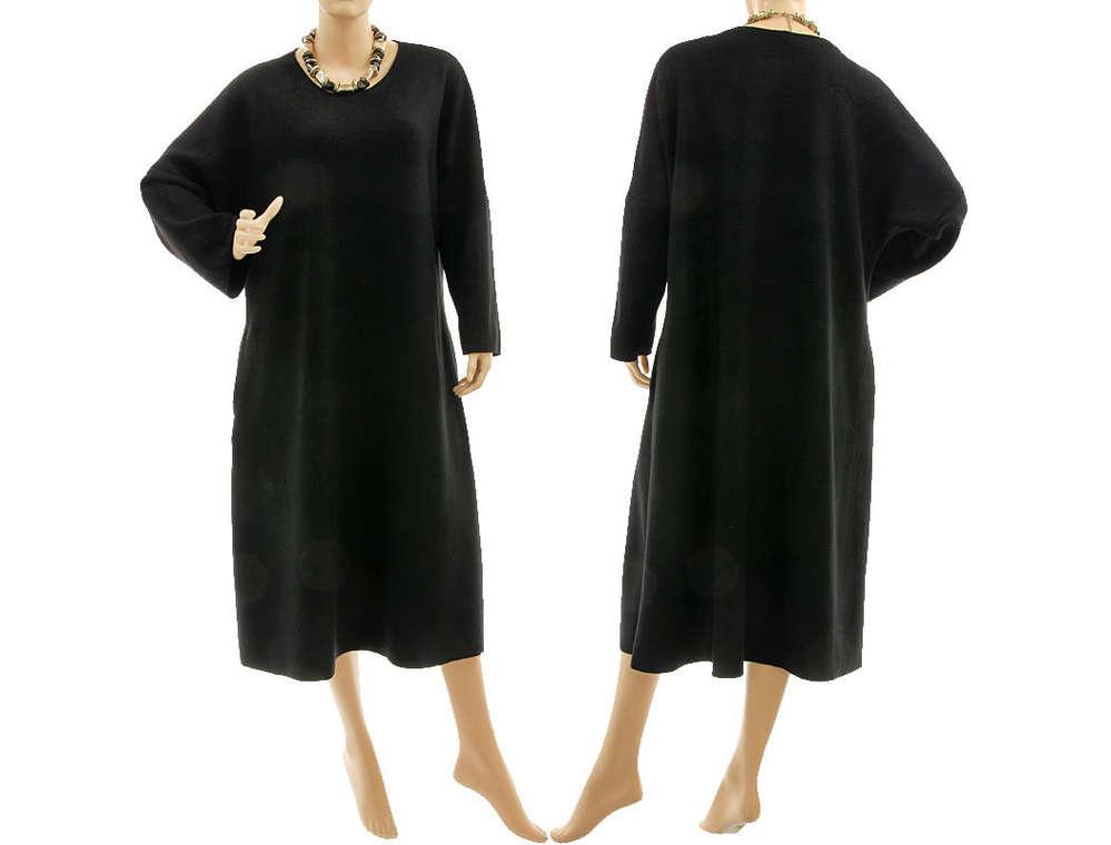 Edles Herbst Winter Kleid Wolle In Schwarz 46 50 Classydress