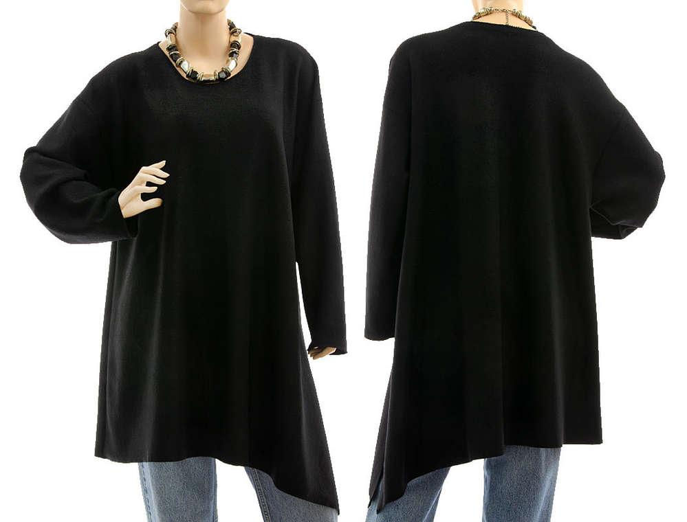 Herbst Winter Tunika Pullover Wolle in schwarz 46-50 - CLASSYDRESS 968abbc428