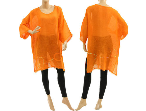 Sommer Leinen Tunika Strandkleid mit Fransen und Pailletten in orange 38-50