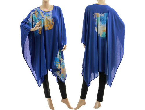Stylischer Abend Party Poncho Cape handbemalt in kobalt blau 36-50