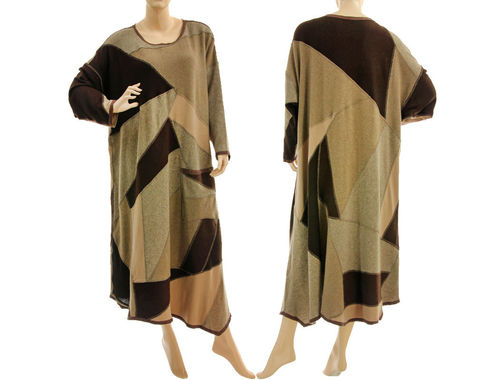 Langes Strick Kleid A-Form, Patchwork, weiche Wolle in beige braun 48-52