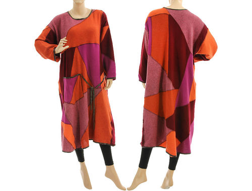 Strick Kleid A-Form, Patchwork, Wolle in rost pink weinrot 46-50