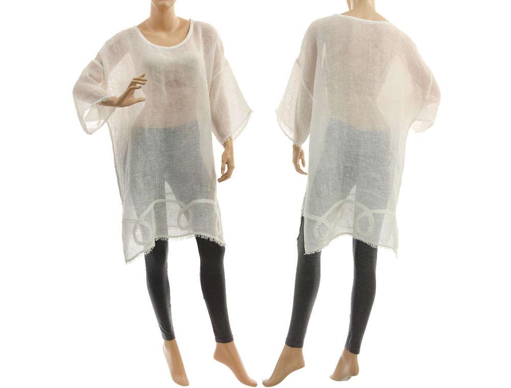 wholesale dealer a443d a841a Lagenlook Leinen Tunika Strandkleid in weiß 38-50 - CLASSYDRESS
