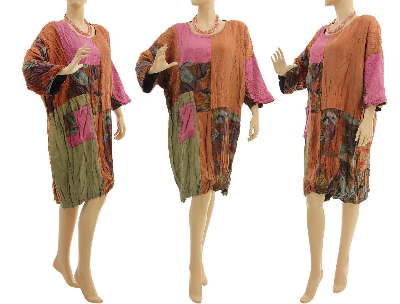 lagenlook kleid gecrashte seide in zimt pink olive 44-50