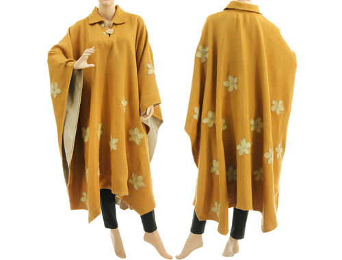 Leinen Outdoor Poncho Cape mit Blumen Applikationen in honiggelb 38-56
